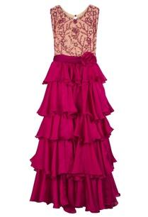 magenta-georgette-silk-ruffle-detail-gown