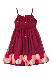 maroon-net-butter-crepe-hand-embroidered-floral-dress