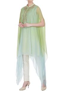green-blue-sequin-hand-embroidered-kaftan-kurta