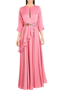 draped-layered-maxi-dress-with-embroidered-belt