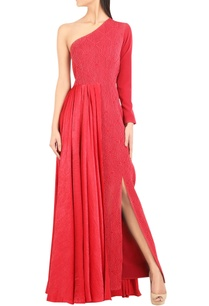 dual-fabric-one-shoulder-gown