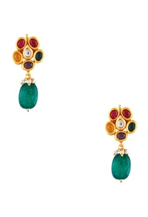 dangling-earrings-with-multicolored-stones