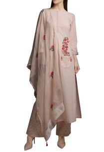 pearl-pink-cotton-embroidered-short-kurta-with-block-printed-pants-dupatta