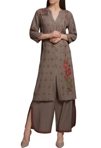 stone-grey-cotton-georgette-floral-embroidered-block-printed-kurta-set