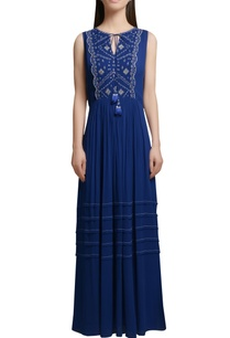 royal-blue-georgette-maxi-dress-with-embroidered-yoke-tassels