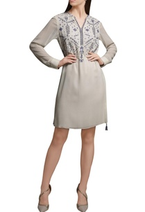 ivory-embroidered-short-georgette-tunic-with-drawstrings