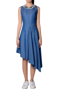 blue-denim-asymmetric-sleeveless-dress
