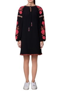 black-moss-crepe-floral-embroidered-peasant-style-shift-dress