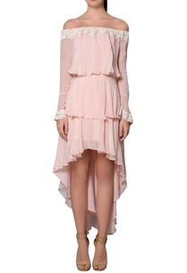 blush-pink-ivory-georgette-feather-detail-tiered-style-dress