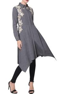 grey-chambray-asymmetric-hemline-kurta