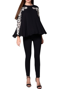 black-georgette-pleated-style-blouse