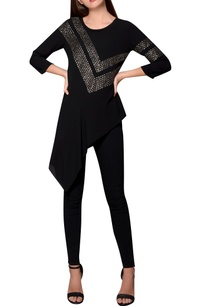 black-moss-crepe-asymmetric-hemline-blouse