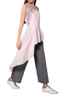 frosty-pink-georgette-sleeveless-asymmetric-blouse