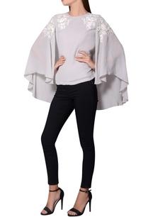 grey-georgette-batwing-sleeves-blouse