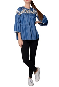 blue-denim-thread-embroidered-tiered-style-blouse