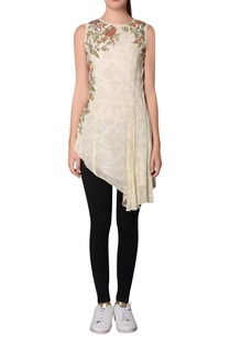 ivory-georgette-floral-printed-pleated-detail-tunic