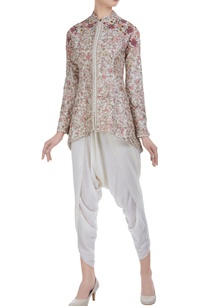 chanderi-silk-hand-thread-embroidered-floral-jacket-with-dhoti-pants
