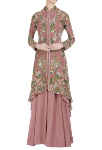 chiffon-floral-hand-embroidered-jacket-and-skirt-set