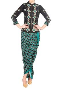 black-crepe-silk-mirror-work-blouse-with-draped-skirt