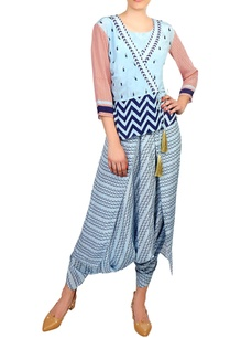 blue-pink-peplum-top-with-dhoti-jumpsuit