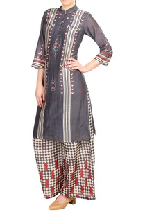 grey-printed-chanderi-kurta-with-palazzos