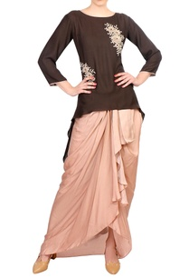 brown-crepe-silk-satin-high-low-kurta-with-dhoti-skirt