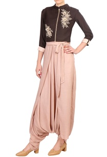 brown-embroidered-jacket-style-blouse-with-flap-dhoti-pants