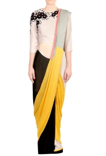 yellow-black-color-block-satin-silk-saree