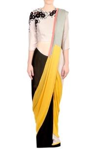 yellow-black-color-block-satin-silk-saree