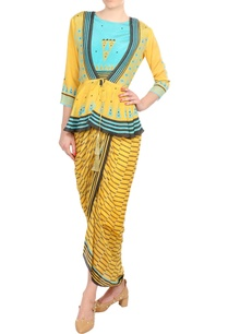 yellow-blue-printed-peplum-blouse-with-dhoti-jumpsuit