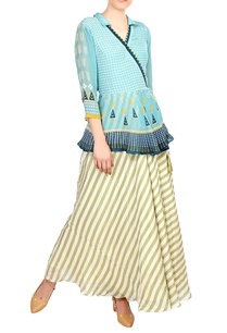 blue-wrap-style-tie-up-blouse-with-flared-skirt
