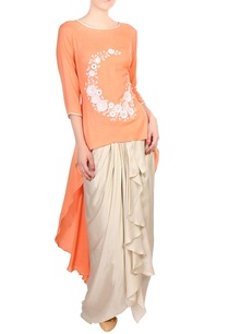 orange-high-low-kurta-with-wrap-skirt