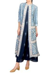 blue-tussar-printed-cape-dress
