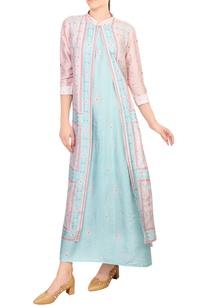 pink-blue-tussar-silk-jacket-layer-maxi-dress