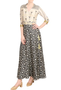 beige-charcoal-printed-wrap-style-dress