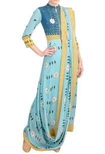 yellow-blue-crepe-silk-pre-draped-saree-with-attached-jacket-blouse