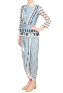 blue-crepe-silk-peplum-top-dhoti-skirt
