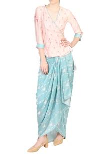blue-pink-printed-angrakha-short-kurta-with-dhoti-skirt