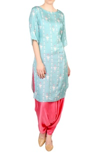 blue-printed-boat-neckline-kurta-with-satin-pants