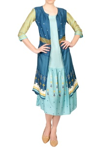 blue-tussar-front-open-jacket-with-dress