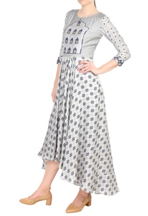grey-printed-high-low-cotton-dress