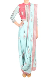 pink-crepe-silk-printed-draped-one-piece-saree