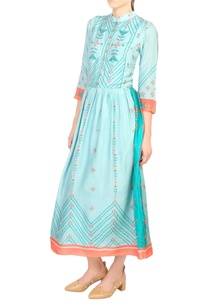 blue-tussar-silk-flared-pleated-dress