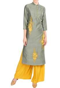 grey-embroidered-chanderi-kurta-with-yellow-palazzos
