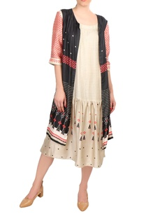 beige-tussar-printed-dress-with-sleeveless-jacket