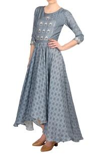 blue-satin-asymmetric-maxi-dress