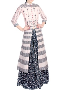 pink-chanderi-front-open-kurta-with-lehenga