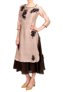 brown-beige-chanderi-embroidered-layered-dress