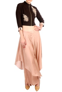 brown-crepe-silk-zipper-blouse-satin-flap-pants