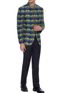 blue-raja-lotus-printed-linen-bandhgala-jacket
